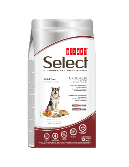 SELECT ADULT MAXI CHICKEN & RICE - SACO 12 KG